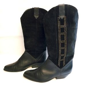 Vintage Pazzo Studded Black Suede Western Boots